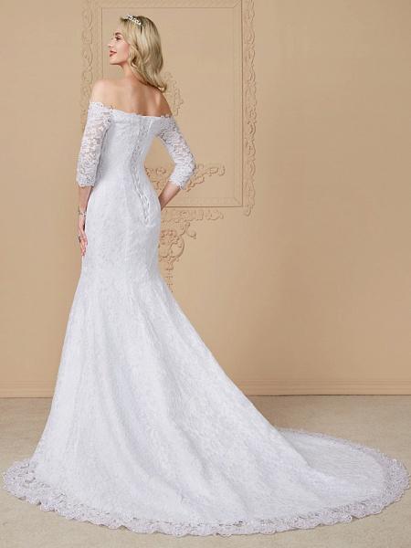 Mermaid \ Trumpet Wedding Dresses Off Shoulder Court Train Lace Sequined 3\4 Length Sleeve Romantic Plus Size Illusion Sleeve_3