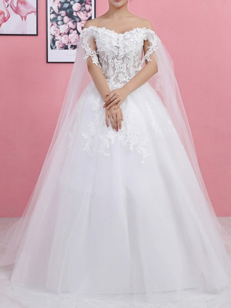 Ball Gown Wedding Dresses Off Shoulder Sweep \ Brush Train Lace Tulle Regular Straps Formal_1