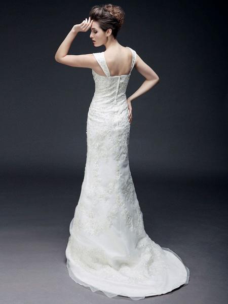 Mermaid \ Trumpet Off Shoulder Sweetheart Neckline Sweep \ Brush Train Organza Satin Short Sleeve Wedding Dresses_4