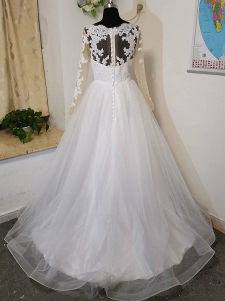 A-Line Wedding Dresses V Neck Court Train Tulle Long Sleeve Formal Casual Beach Illusion Sleeve_4