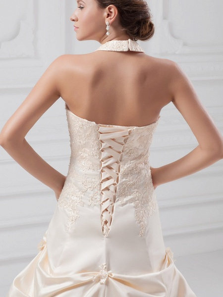 A-Line Halter Neck Chapel Train Lace Satin Regular Straps Wedding Dresses_5