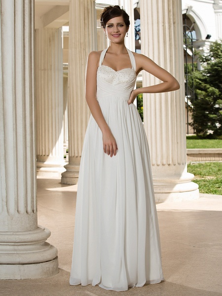 A-Line Wedding Dresses Halter Neck Floor Length Chiffon Sleeveless See-Through_1
