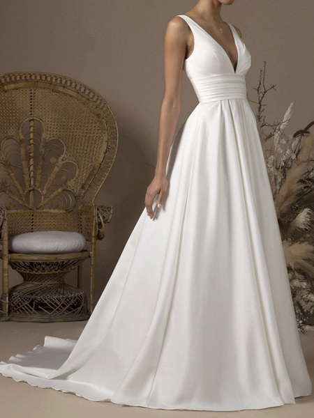 A-Line Wedding Dresses V Neck Sweep \ Brush Train Satin Sleeveless Formal_1