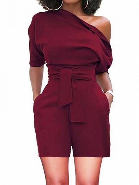 Women's Basic One Shoulder Black Wine White Wide Leg Romper_5