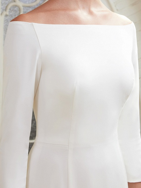 A-Line Wedding Dresses Bateau Neck Chapel Train Satin 3\4 Length Sleeve Elegant_11