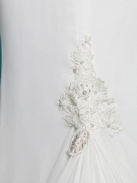 Mermaid \ Trumpet Wedding Dresses Jewel Neck Court Train Chiffon Short Sleeve Open Back_9
