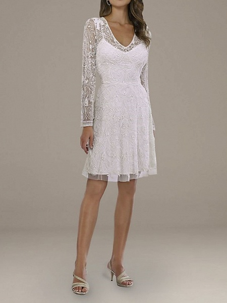 A-Line Wedding Dresses V Neck Short \ Mini Lace Tulle Long Sleeve Country Plus Size_1