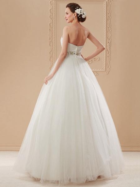 Ball Gown Wedding Dresses Sweetheart Neckline Floor Length Tulle Sleeveless Open Back_10