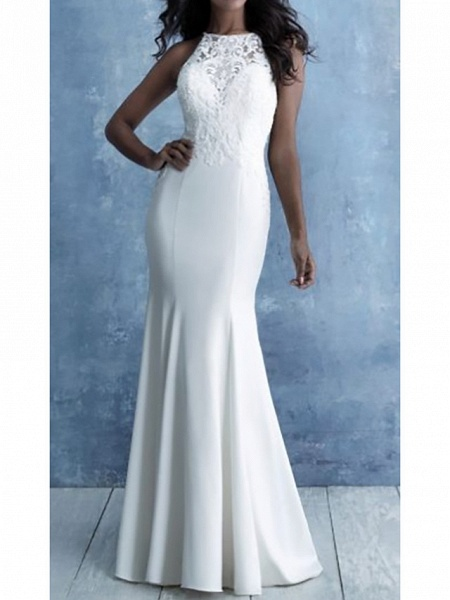 Mermaid \ Trumpet Wedding Dresses Halter Neck Court Train Lace Satin Cap Sleeve Country_1