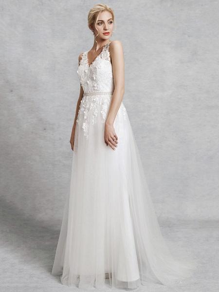 A-Line Wedding Dresses V Neck Court Train Lace Satin Tulle Regular Straps Romantic Illusion Detail Backless_3