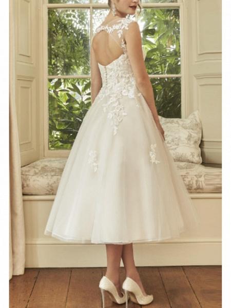 A-Line Wedding Dresses V Neck Midi Lace Tulle Regular Straps Formal Casual Vintage Illusion Detail Backless_2