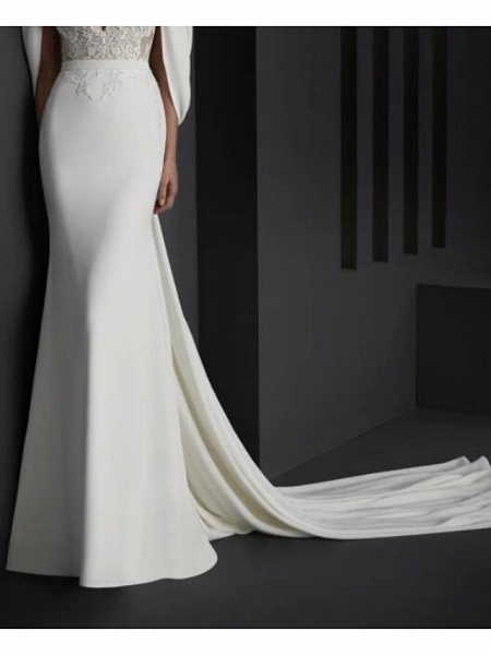 Mermaid \ Trumpet Wedding Dresses V Neck Sweep \ Brush Train Stretch Satin Sleeveless Country Plus Size_2