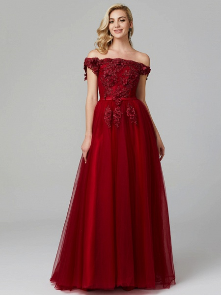 A-Line Floral Pink Prom Formal Evening Dress Off Shoulder Sleeveless Sweep \ Brush Train Tulle Over Lace_9