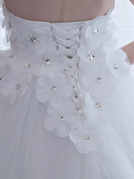 Ball Gown Wedding Dresses Strapless Chapel Train Satin Tulle Strapless Sparkle & Shine_9