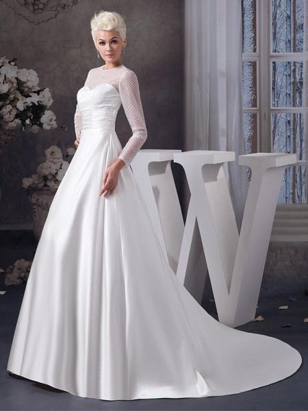 A-Line Wedding Dresses Jewel Neck Court Train Satin Tulle 3\4 Length Sleeve Illusion Sleeve_2