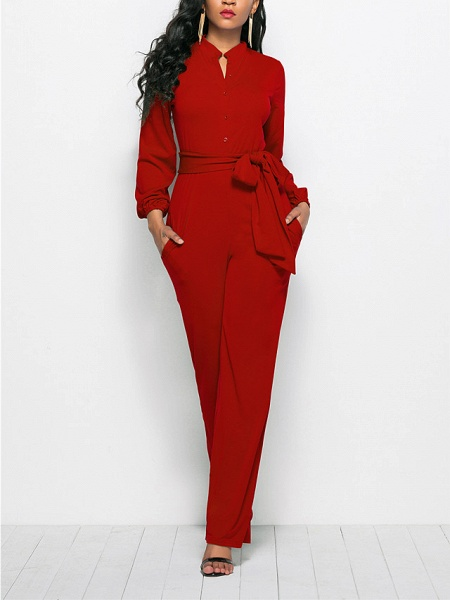 Women's Ordinary \ Business Wine Black Red Jumpsuit_1