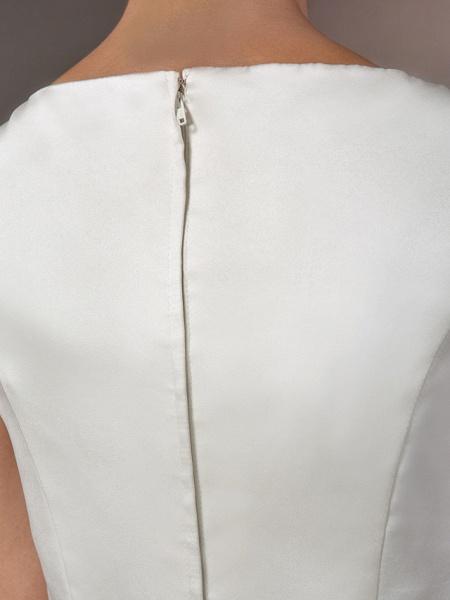 Mermaid \ Trumpet Wedding Dresses Bateau Neck Cathedral Train Satin Regular Straps Vintage Inspired_8