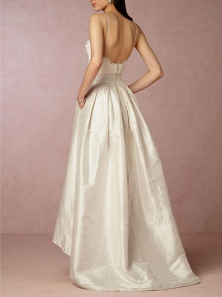 A-Line Wedding Dresses V Neck Asymmetrical Satin Sleeveless Formal Little White Dress_2