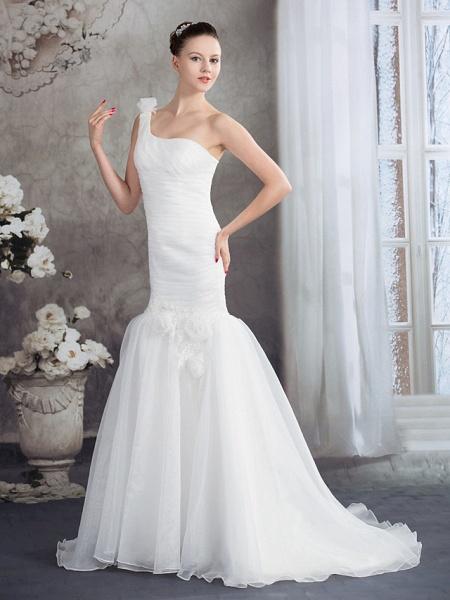 Mermaid \ Trumpet One Shoulder Court Train Organza Spaghetti Strap Wedding Dresses_2