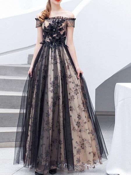 A-Line Wedding Dresses Off Shoulder Floor Length Lace Tulle Regular Straps Formal Black_2