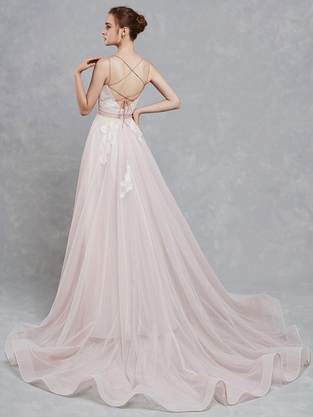 A-Line Wedding Dresses Sweetheart Neckline Court Train Lace Tulle Spaghetti Strap Beautiful Back_2