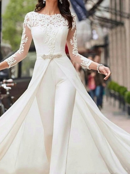 Two Piece Jumpsuits A-Line Wedding Dresses Jewel Neck Court Train Polyester Long Sleeve Formal Plus Size_1