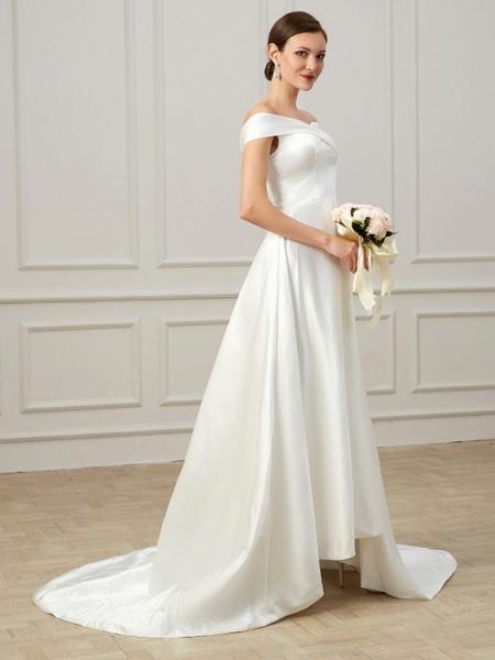 A-Line Wedding Dresses Off Shoulder Court Train Satin Short Sleeve Formal Vintage Plus Size_4