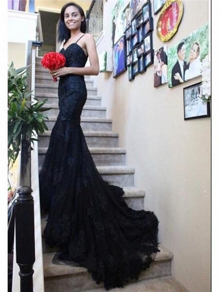 Mermaid \ Trumpet Sweetheart Neckline Chapel Train Lace Satin Tulle Spaghetti Strap Black Wedding Dresses_1