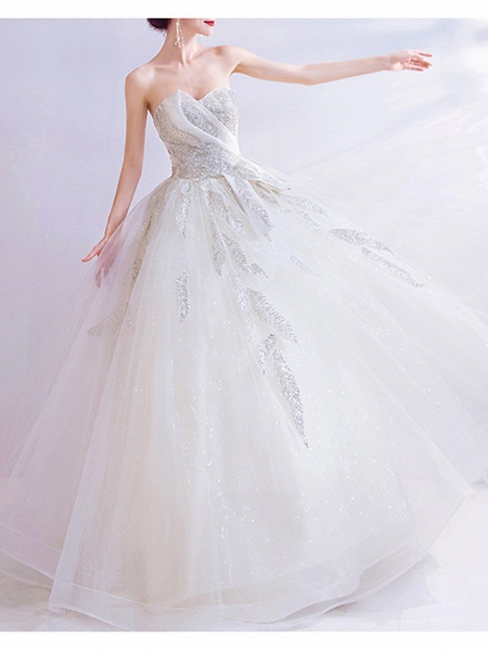 A-Line Wedding Dresses Strapless Sweep \ Brush Train Chiffon Tulle Strapless Formal Illusion Detail Plus Size_2