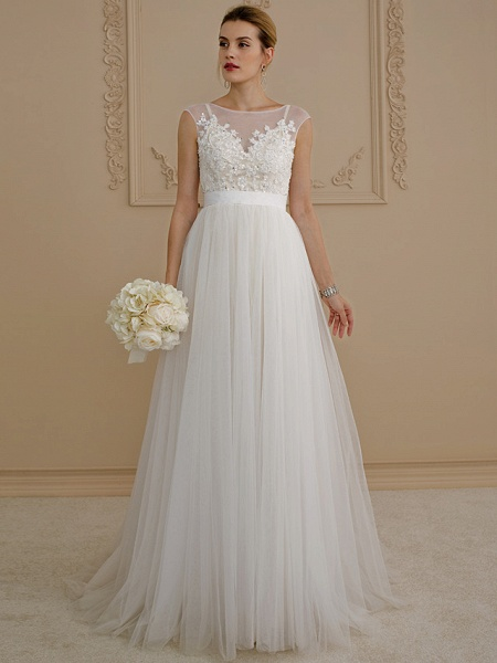 A-Line Wedding Dresses Jewel Neck Sweep \ Brush Train Beaded Lace Cap Sleeve Romantic Plus Size Backless_2