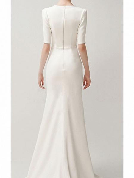 Mermaid \ Trumpet Wedding Dresses Jewel Neck Sweep \ Brush Train Satin Short Sleeve Formal Vintage Plus Size_3