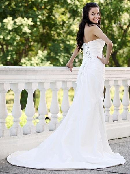 Mermaid \ Trumpet Wedding Dresses Strapless Court Train Taffeta Short Sleeve_4
