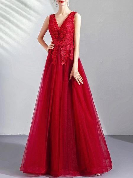A-Line Wedding Dresses V Neck Floor Length Tulle Regular Straps Romantic Plus Size Red_1
