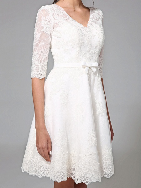 A-Line Wedding Dresses V Neck Knee Length All Over Lace 3\4 Length Sleeve Formal Casual Vintage Cute Illusion Sleeve_8