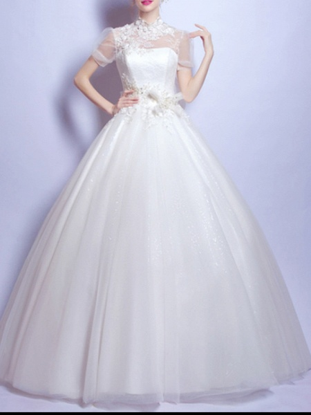 Ball Gown Wedding Dresses Jewel Neck Sweep \ Brush Train Chiffon Tulle Short Sleeve Formal Illusion Detail Plus Size Cute_1