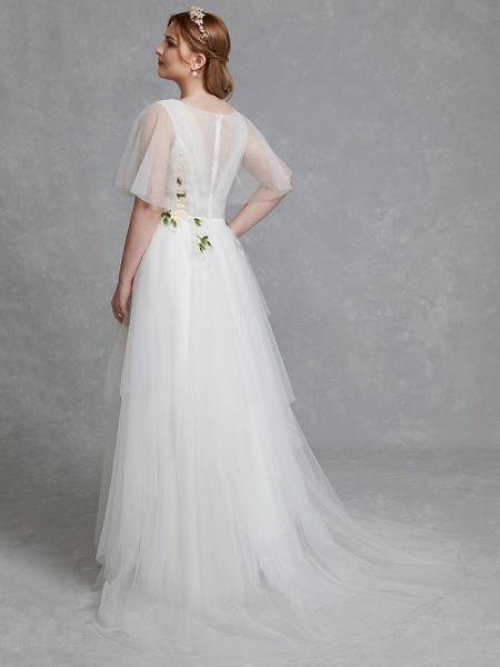 A-Line Wedding Dresses Jewel Neck Sweep \ Brush Train Tulle Short Sleeve Casual Boho Plus Size_2