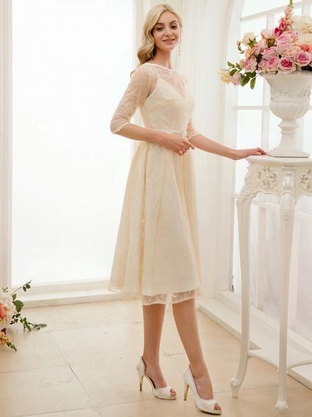 A-Line Wedding Dresses Bateau Neck Knee Length Lace Charmeuse 3\4 Length Sleeve See-Through_5