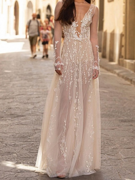 A-Line Wedding Dresses Scoop Neck Floor Length Lace Tulle Long Sleeve Beach Sexy See-Through_1