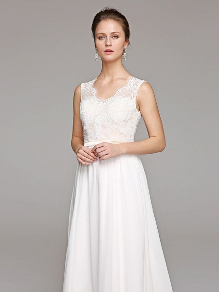A-Line Wedding Dresses V Neck Court Train Chiffon Lace Bodice Regular Straps Simple Illusion Detail Backless_4