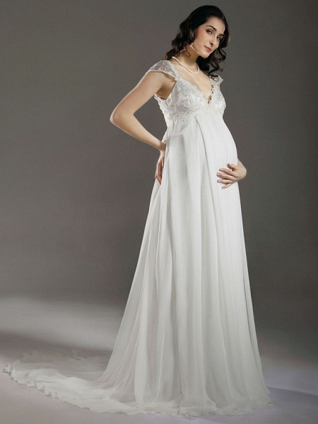 Sheath \ Column Wedding Dresses V Neck Court Train Chiffon Short Sleeve_2