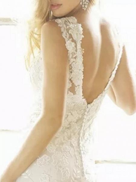 Sheath \ Column Wedding Dresses V Neck Sweep \ Brush Train Lace Polyester Sleeveless Country Plus Size_3