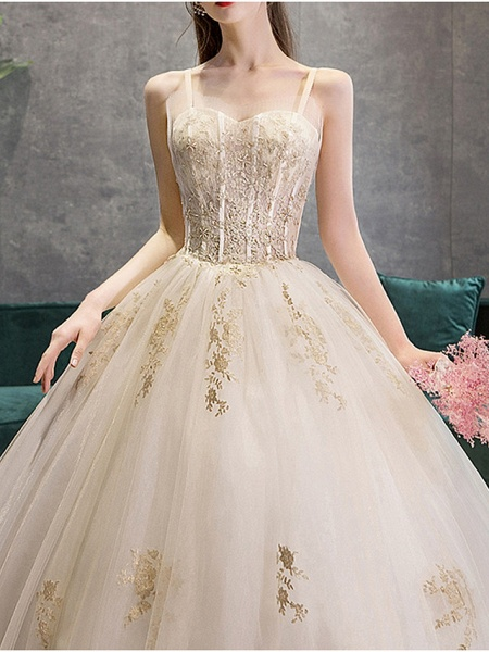 Ball Gown Wedding Dresses Sweetheart Neckline Court Train Polyester Spaghetti Strap_1