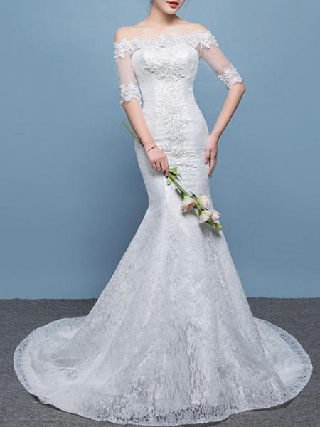 Mermaid \ Trumpet Wedding Dresses Off Shoulder Floor Length Lace Tulle Sleeveless Formal Plus Size_3
