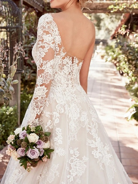 A-Line Wedding Dresses One Shoulder Court Train Lace Tulle Long Sleeve Illusion Sleeve_2