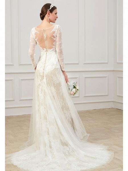 Sheath \ Column Wedding Dresses Jewel Neck Sweep \ Brush Train Lace Tulle Long Sleeve Formal Boho Plus Size Illusion Sleeve_5
