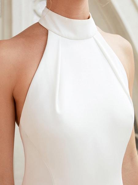 Sheath \ Column Wedding Dresses Halter Neck Court Train Chiffon Satin Regular Straps Simple Backless Elegant_8