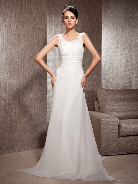 Sheath \ Column Scoop Neck Court Train Chiffon Sleeveless Wedding Dresses_2