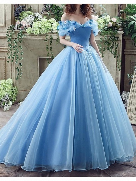 Ball Gown Wedding Dresses Off Shoulder Floor Length Polyester Short Sleeve Country Plus Size_1