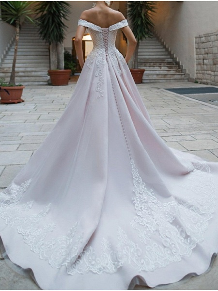 A-Line Off Shoulder Court Train Polyester Short Sleeve Romantic Illusion Detail Wedding Dresses_2