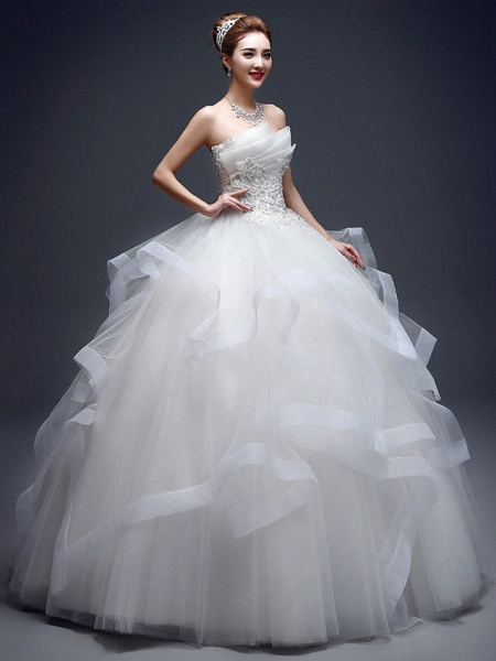 Ball Gown Wedding Dresses Strapless Floor Length Lace Tulle Strapless Sexy Red_1